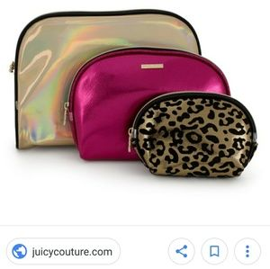 Juicy couture set of 3 dome shape zipper bags